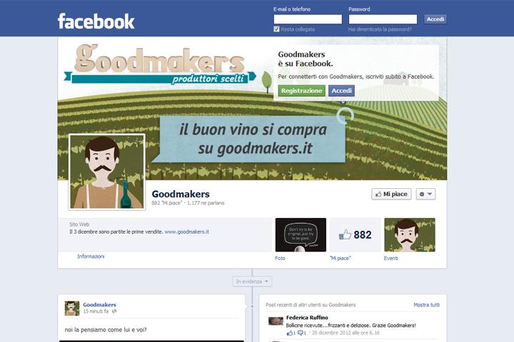 layout grafico della fans page di Facebook