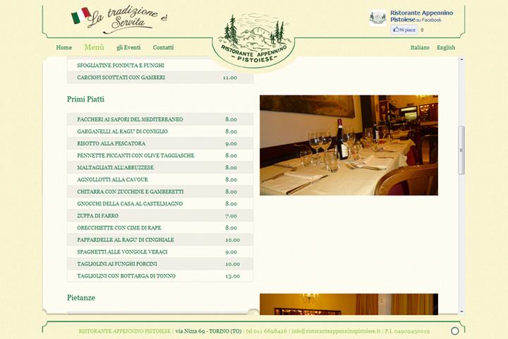 layout grafico sito web ristoranteappenninopistoiese.it