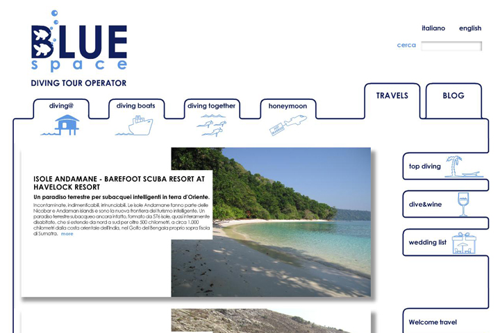 layout grafico per sito web bluespace.it