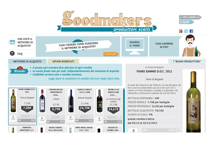 layout grafico portale Goodmakers