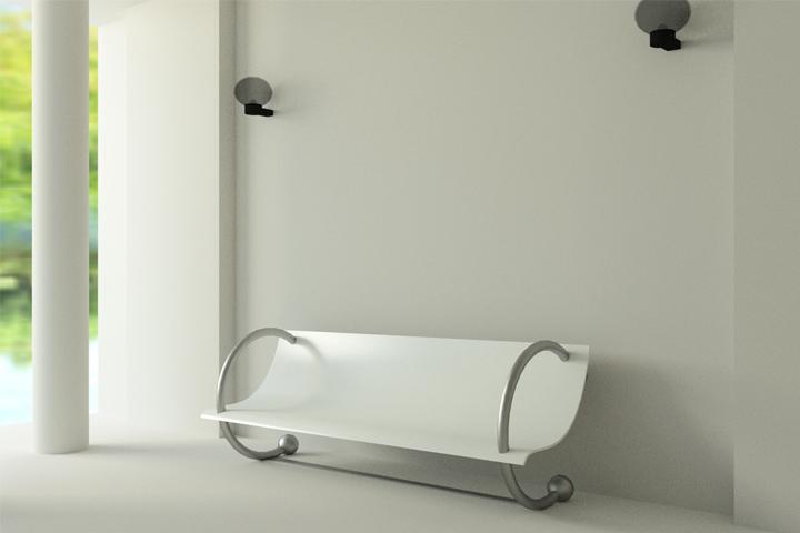versione gambe metallizzate e seduta bianca