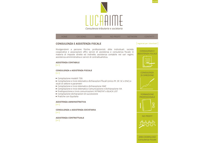 pagina interna sito Luca Aime